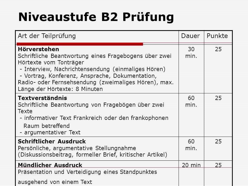 Niveaustufe B2 Prüfung Art der TeilprüfungDauerPunkte Hörverstehen Schriftliche Beantwortung eines Fragebogens über zwei Hörtexte vom Tonträger - Inte