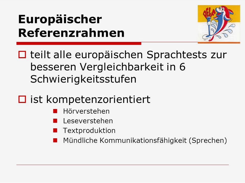 Europäischer Referenzrahmen teilt alle europäischen Sprachtests zur besseren Vergleichbarkeit in 6 Schwierigkeitsstufen ist kompetenzorientiert Hörver