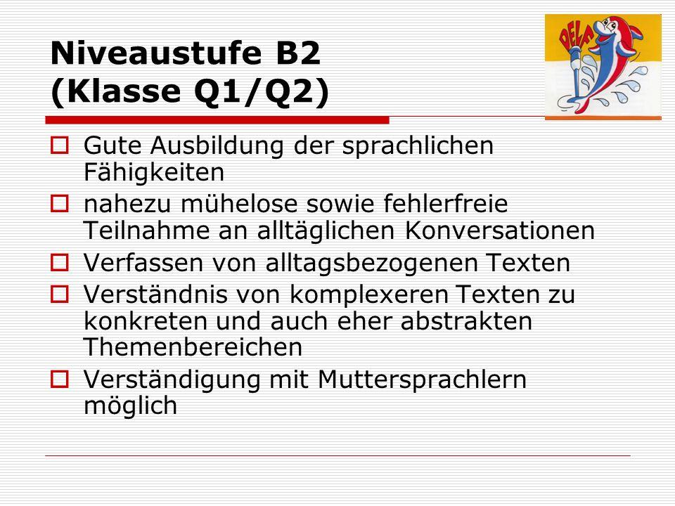 Niveaustufe B2 (Klasse Q1/Q2) Gute Ausbildung der sprachlichen Fähigkeiten nahezu mühelose sowie fehlerfreie Teilnahme an alltäglichen Konversationen