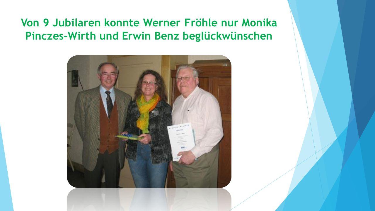 Von 9 Jubilaren konnte Werner Fröhle nur Monika Pinczes-Wirth und Erwin Benz beglückwünschen