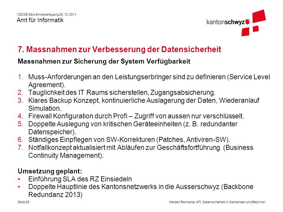 VSZGB Säckelmeistertagung 28. 10. 2011 Amt für Informatik Seite 25Herbert Reinecke, AFI, Datensicherheit in Gemeinden und Bezirken 7. Massnahmen zur V