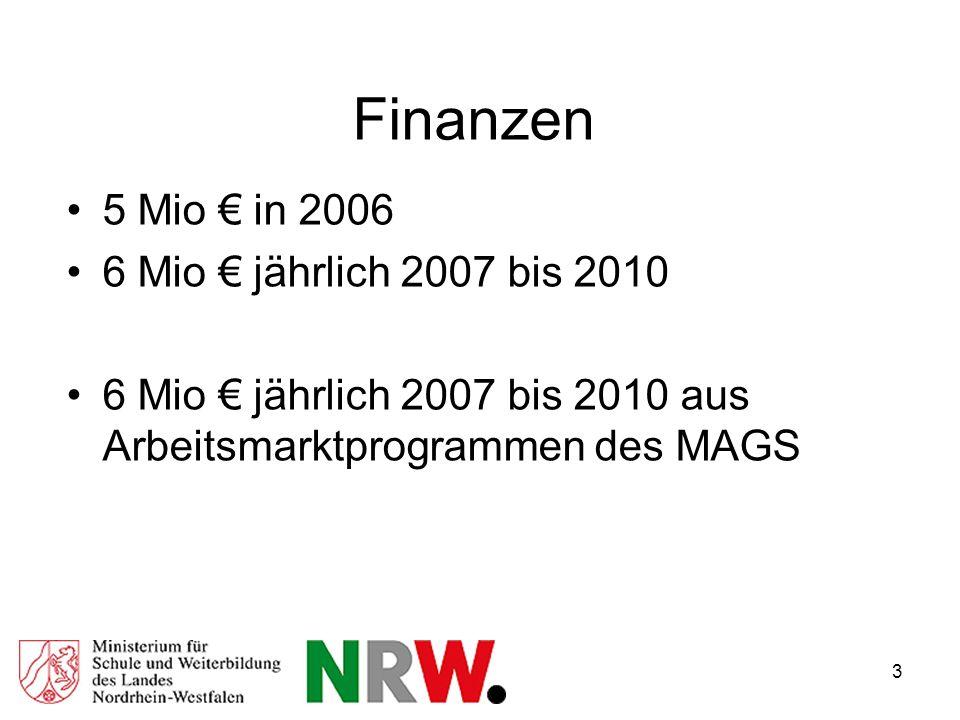 3 Finanzen 5 Mio in 2006 6 Mio jährlich 2007 bis 2010 6 Mio jährlich 2007 bis 2010 aus Arbeitsmarktprogrammen des MAGS