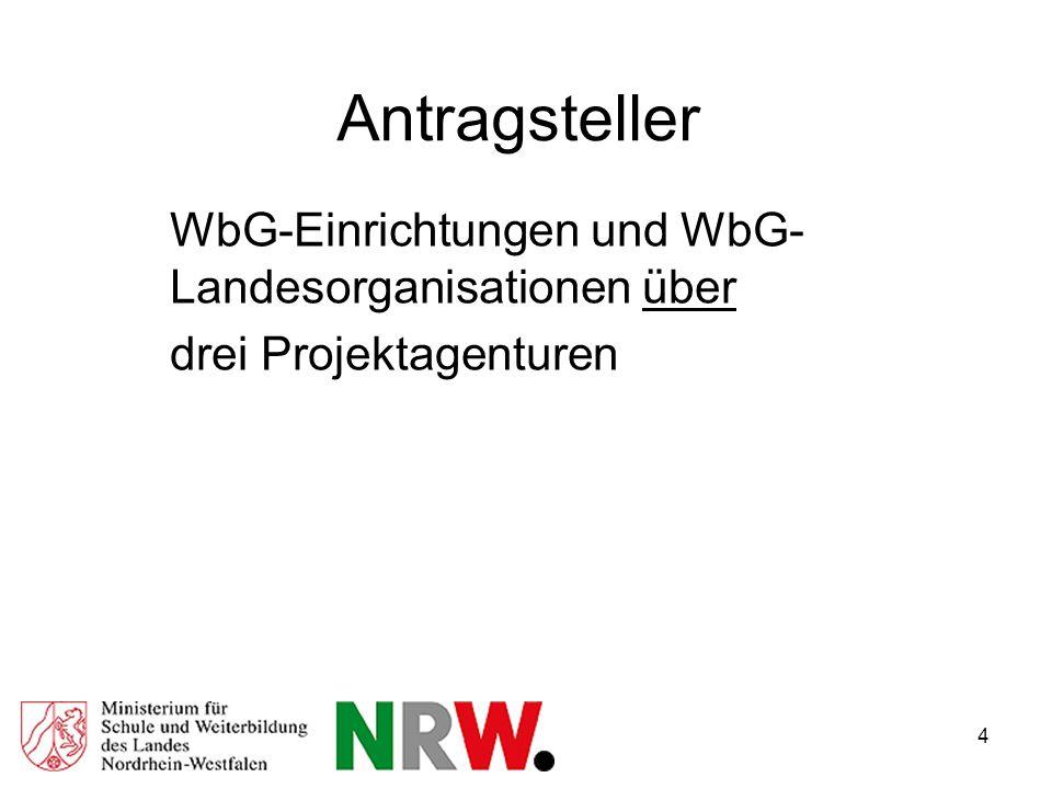 4 Antragsteller WbG-Einrichtungen und WbG- Landesorganisationen über drei Projektagenturen