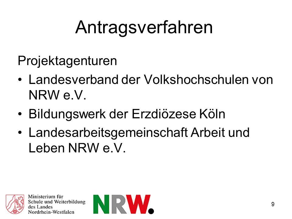 9 Antragsverfahren Projektagenturen Landesverband der Volkshochschulen von NRW e.V.