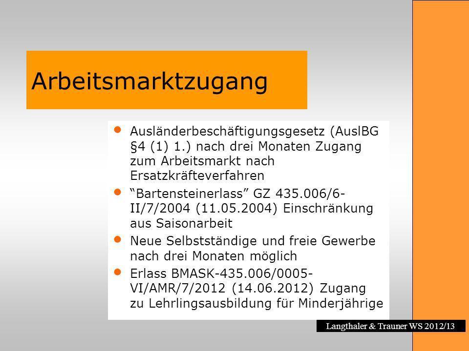 Langthaler & Trauner WS 2012/13 Arbeitsmarktzugang Ausländerbeschäftigungsgesetz (AuslBG §4 (1) 1.) nach drei Monaten Zugang zum Arbeitsmarkt nach Ers