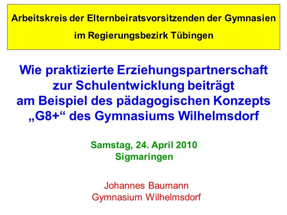 Arbeitskreis der Elternbeiratsvorsitzenden der Gymnasien im Regierungsbezirk Tübingen Wie praktizierte Erziehungspartnerschaft zur Schulentwicklung be