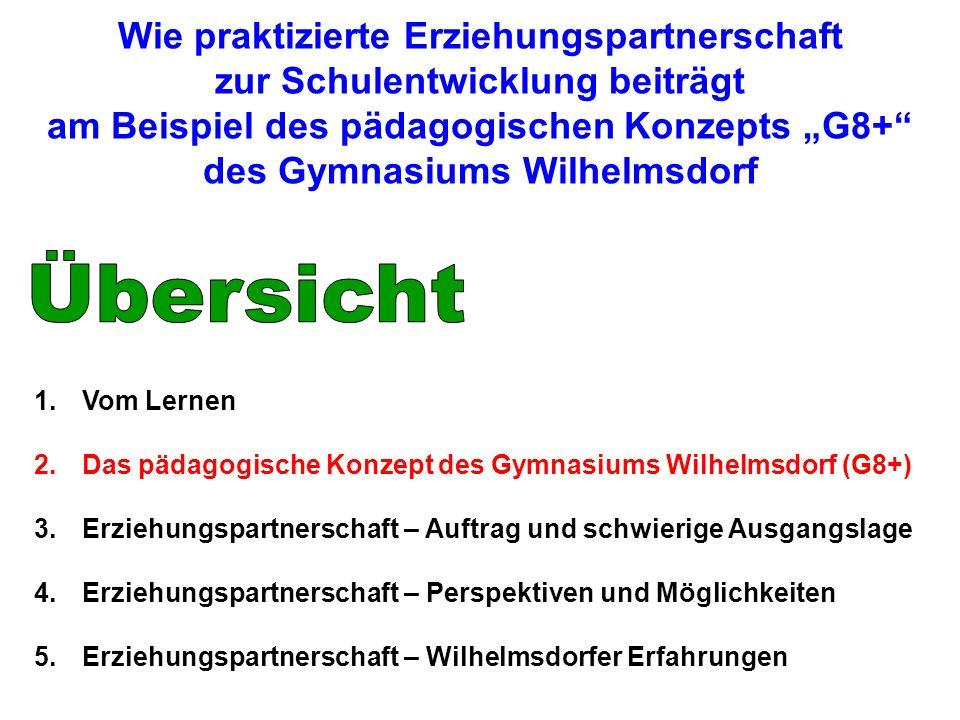 1.Vom Lernen 2.Das pädagogische Konzept des Gymnasiums Wilhelmsdorf (G8+) 3.Erziehungspartnerschaft – Auftrag und schwierige Ausgangslage 4.Erziehungs