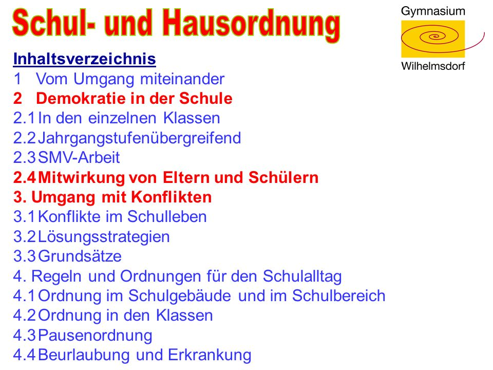 Inhaltsverzeichnis 1 Vom Umgang miteinander 2 Demokratie in der Schule 2.1In den einzelnen Klassen 2.2Jahrgangstufenübergreifend 2.3SMV-Arbeit 2.4Mitw