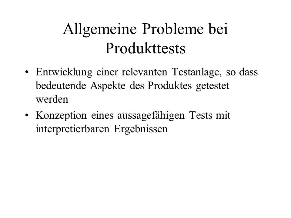 Allgemeine Probleme bei Produkttests Entwicklung einer relevanten Testanlage, so dass bedeutende Aspekte des Produktes getestet werden Konzeption eines aussagefähigen Tests mit interpretierbaren Ergebnissen