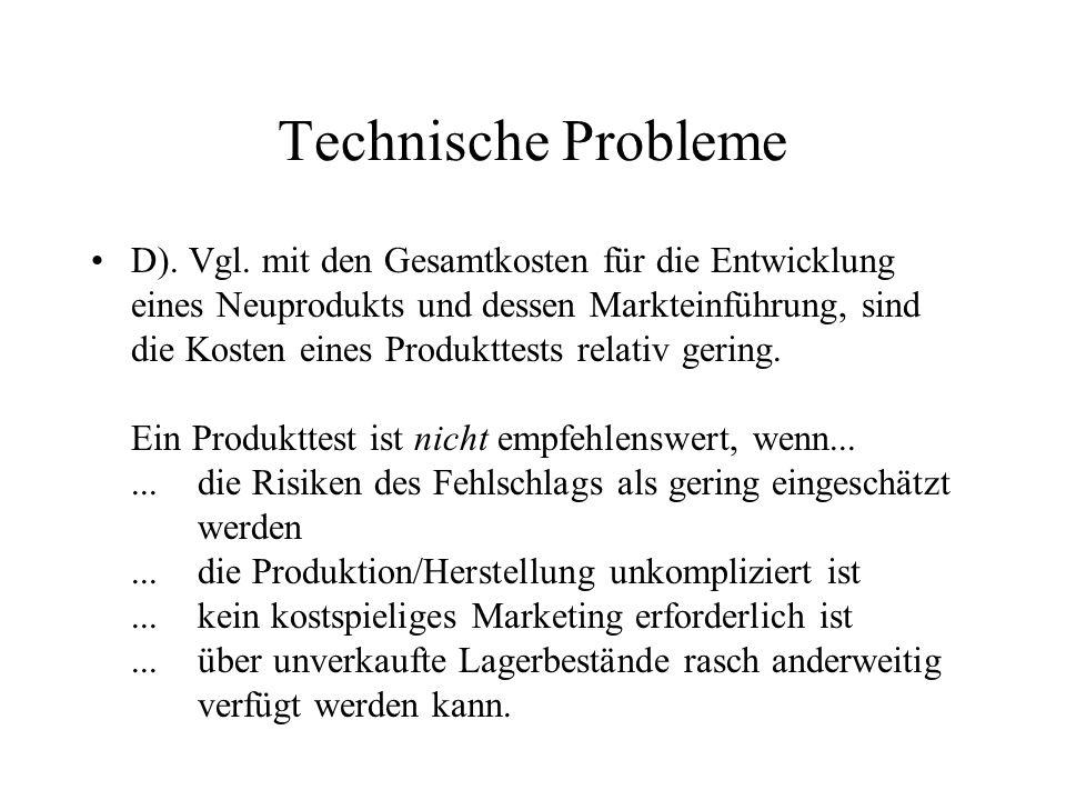 Technische Probleme D).Vgl.