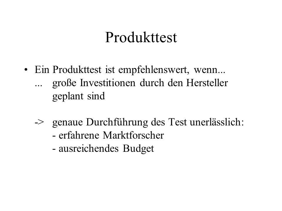 Produkttest Ein Produkttest ist empfehlenswert, wenn......große Investitionen durch den Hersteller geplant sind ->genaue Durchführung des Test unerlässlich: - erfahrene Marktforscher - ausreichendes Budget
