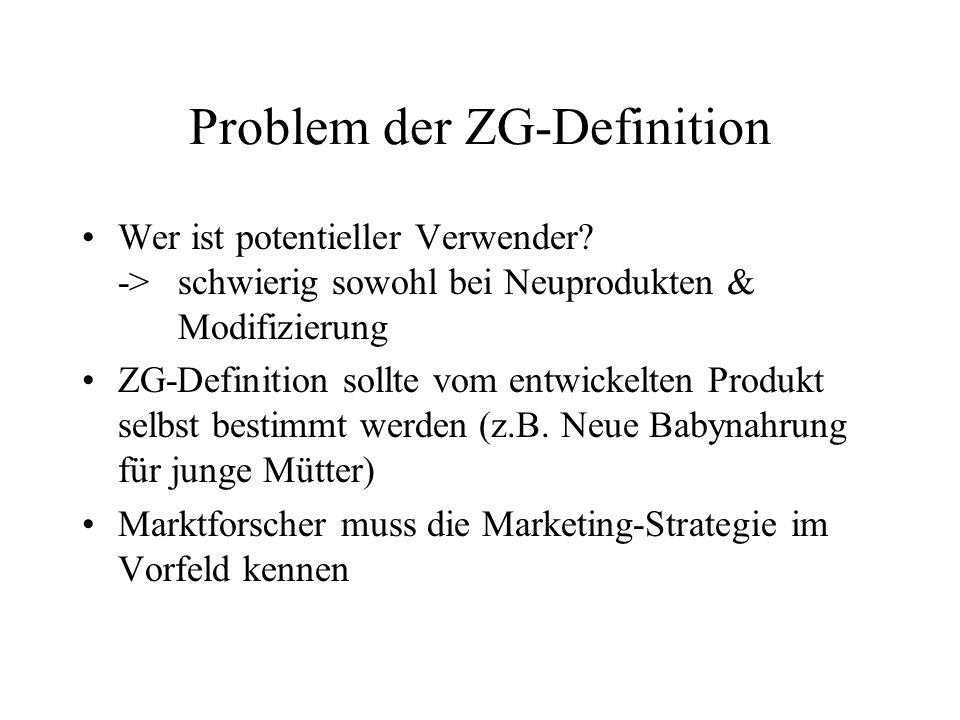 Problem der ZG-Definition Wer ist potentieller Verwender.