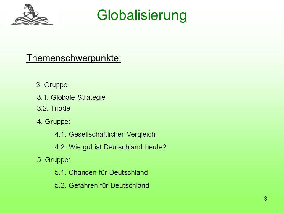 3 Globalisierung Themenschwerpunkte: 3. Gruppe 3.1. Globale Strategie 3.2. Triade 4. Gruppe: 4.1. Gesellschaftlicher Vergleich 4.2. Wie gut ist Deutsc