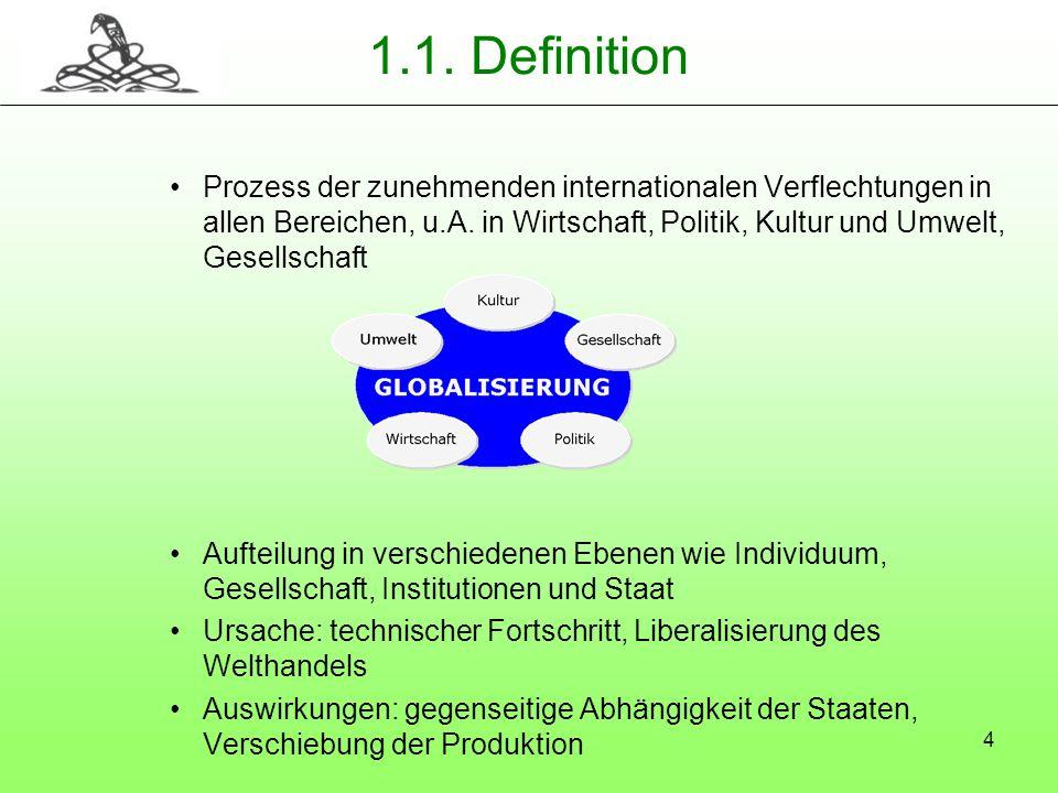 4 1.1. Definition Prozess der zunehmenden internationalen Verflechtungen in allen Bereichen, u.A. in Wirtschaft, Politik, Kultur und Umwelt, Gesellsch