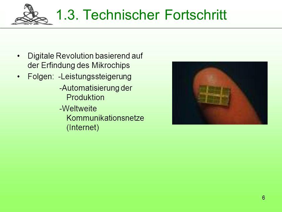 6 1.3. Technischer Fortschritt Digitale Revolution basierend auf der Erfindung des Mikrochips Folgen: -Leistungssteigerung -Automatisierung der Produk