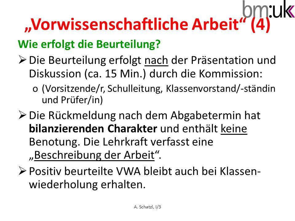 Wie erfolgt die Beurteilung? Die Beurteilung erfolgt nach der Präsentation und Diskussion (ca. 15 Min.) durch die Kommission: o(Vorsitzende/r, Schulle