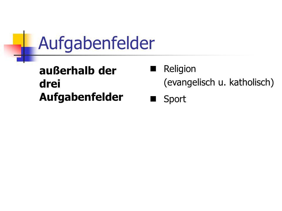 Aufgabenfelder außerhalb der drei Aufgabenfelder Religion (evangelisch u. katholisch) Sport