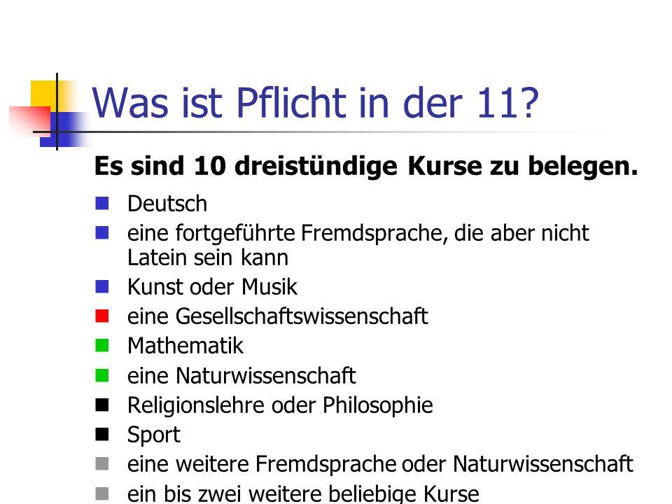 Was ist Pflicht in der 11? Es sind 10 dreistündige Kurse zu belegen. Deutsch eine fortgeführte Fremdsprache, die aber nicht Latein sein kann Kunst ode