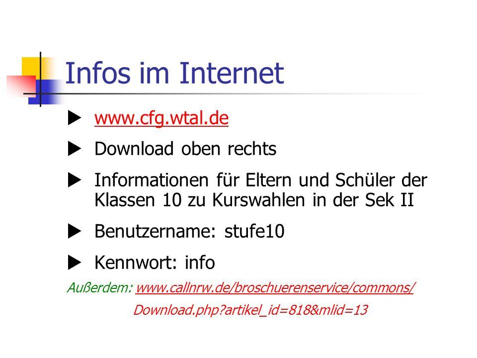 Infos im Internet www.cfg.wtal.de Download oben rechts Informationen für Eltern und Schüler der Klassen 10 zu Kurswahlen in der Sek II Benutzername: stufe10 Kennwort: info Außerdem: www.callnrw.de/broschuerenservice/commons/www.callnrw.de/broschuerenservice/commons/ Download.php?artikel_id=818&mlid=13