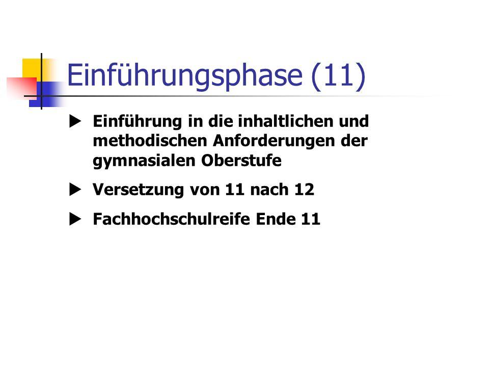 Einführungsphase (11) Einführung in die inhaltlichen und methodischen Anforderungen der gymnasialen Oberstufe Versetzung von 11 nach 12 Fachhochschulreife Ende 11