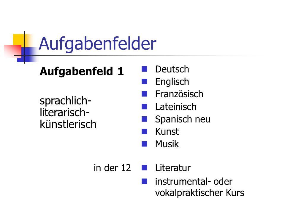 Aufgabenfelder Aufgabenfeld 1 sprachlich- literarisch- künstlerisch Deutsch Englisch Französisch Lateinisch Spanisch neu Kunst Musik Literatur instrumental- oder vokalpraktischer Kurs in der 12