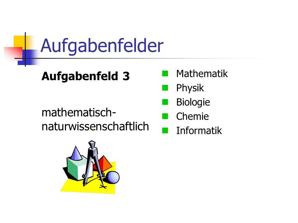 Aufgabenfelder Aufgabenfeld 3 mathematisch- naturwissenschaftlich Mathematik Physik Biologie Chemie Informatik
