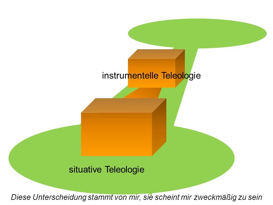 instrumentelle Teleologie situative Teleologie Diese Unterscheidung stammt von mir, sie scheint mir zweckmäßig zu sein