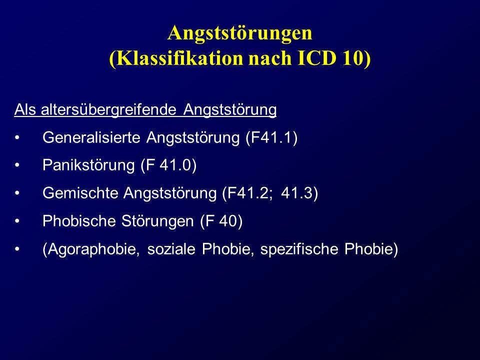 Angststörungen (Klassifikation nach ICD 10) Als altersübergreifende Angststörung Generalisierte Angststörung (F41.1) Panikstörung (F 41.0) Gemischte A