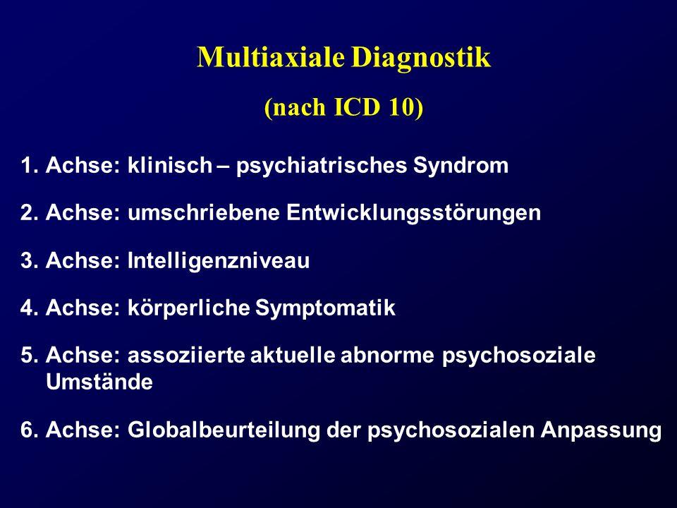 Multiaxiale Diagnostik (nach ICD 10) 1.Achse: klinisch – psychiatrisches Syndrom 2.Achse: umschriebene Entwicklungsstörungen 3.Achse: Intelligenznivea