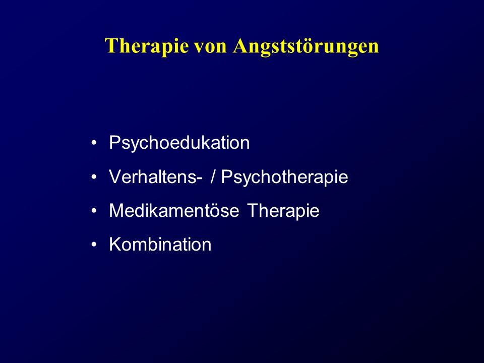 Therapie von Angststörungen Psychoedukation Verhaltens- / Psychotherapie Medikamentöse Therapie Kombination