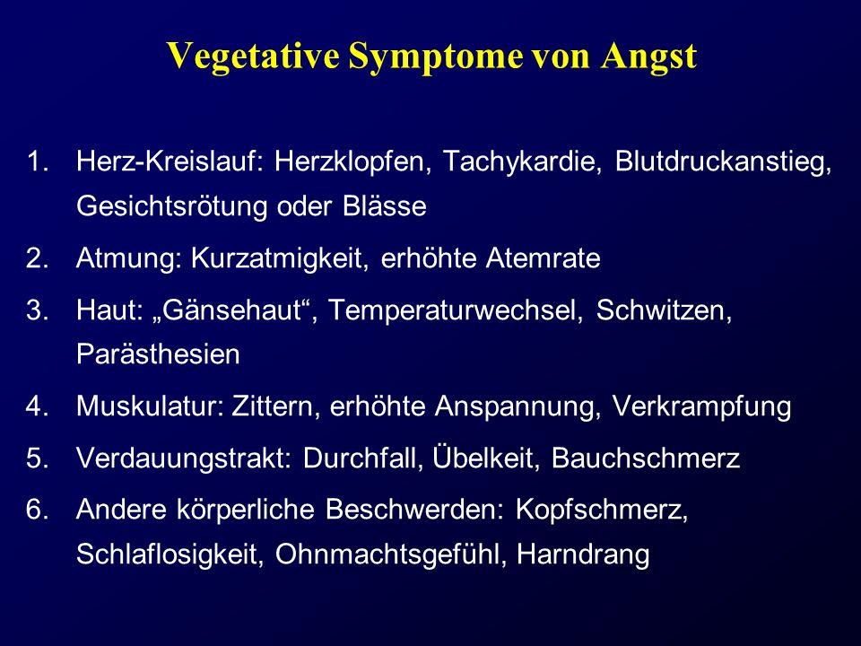 Vegetative Symptome von Angst 1.Herz-Kreislauf: Herzklopfen, Tachykardie, Blutdruckanstieg, Gesichtsrötung oder Blässe 2.Atmung: Kurzatmigkeit, erhöht
