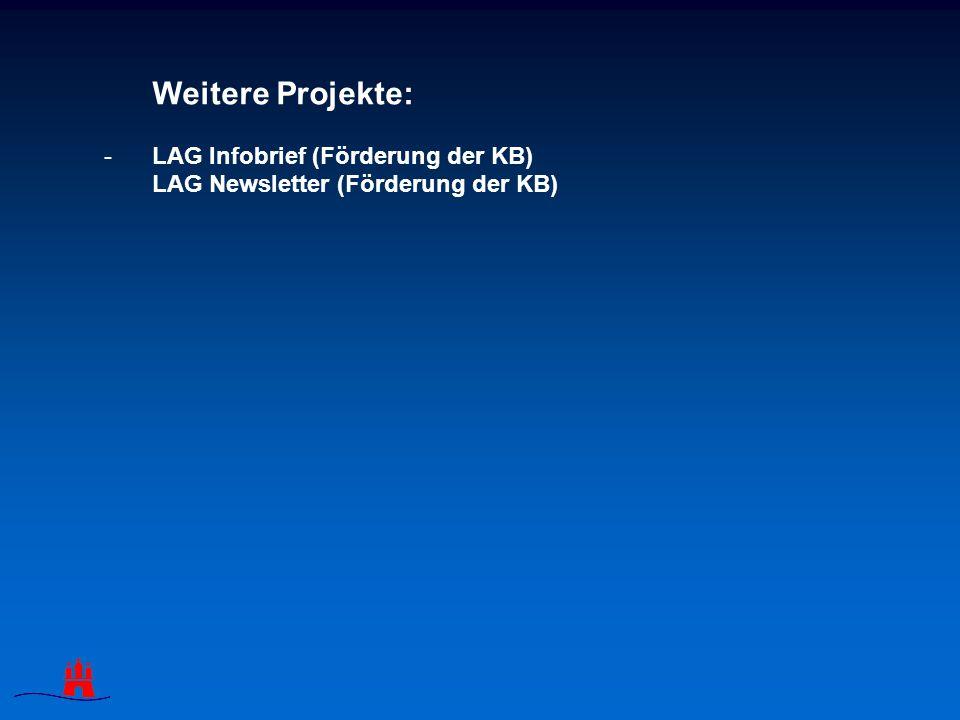 Weitere Projekte: -LAG Infobrief (Förderung der KB) LAG Newsletter (Förderung der KB)
