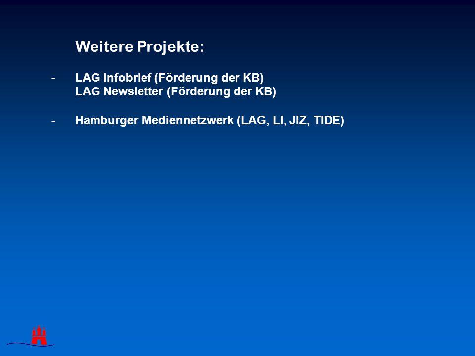 Weitere Projekte: -LAG Infobrief (Förderung der KB) LAG Newsletter (Förderung der KB) -Hamburger Mediennetzwerk (LAG, LI, JIZ, TIDE)