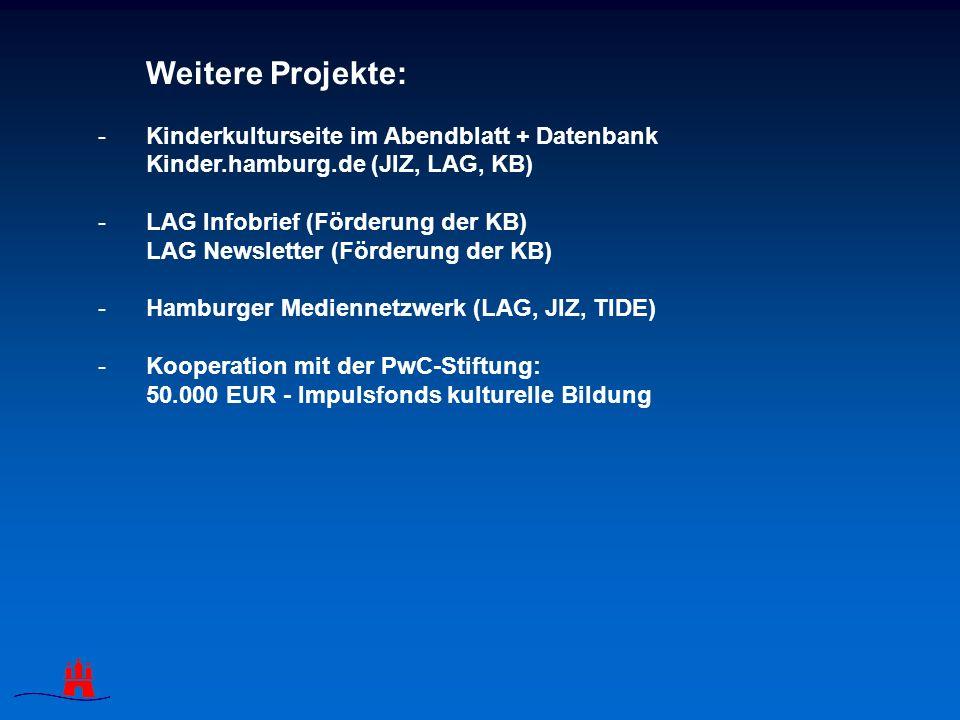 Weitere Projekte: -Kinderkulturseite im Abendblatt + Datenbank Kinder.hamburg.de (JIZ, LAG, KB) -LAG Infobrief (Förderung der KB) LAG Newsletter (Förderung der KB) -Hamburger Mediennetzwerk (LAG, JIZ, TIDE) -Kooperation mit der PwC-Stiftung: 50.000 EUR - Impulsfonds kulturelle Bildung