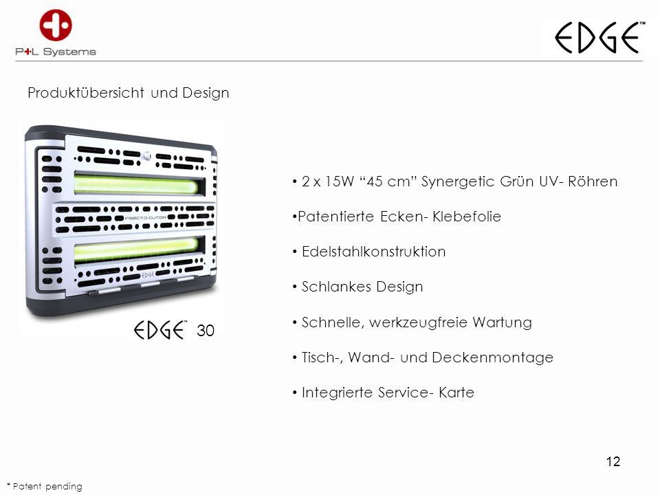 12 Produktübersicht und Design 30 2 x 15W 45 cm Synergetic Grün UV- Röhren Patentierte Ecken- Klebefolie Edelstahlkonstruktion Schlankes Design Schnelle, werkzeugfreie Wartung Tisch-, Wand- und Deckenmontage Integrierte Service- Karte * Patent pending