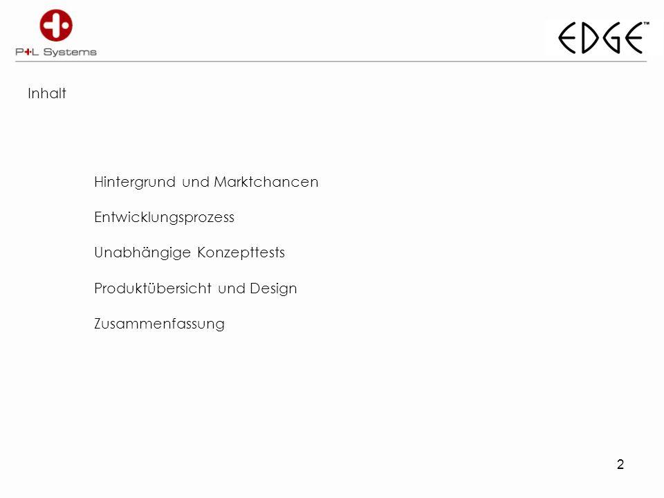Inhalt Hintergrund und Marktchancen Entwicklungsprozess Unabhängige Konzepttests Produktübersicht und Design Zusammenfassung 2