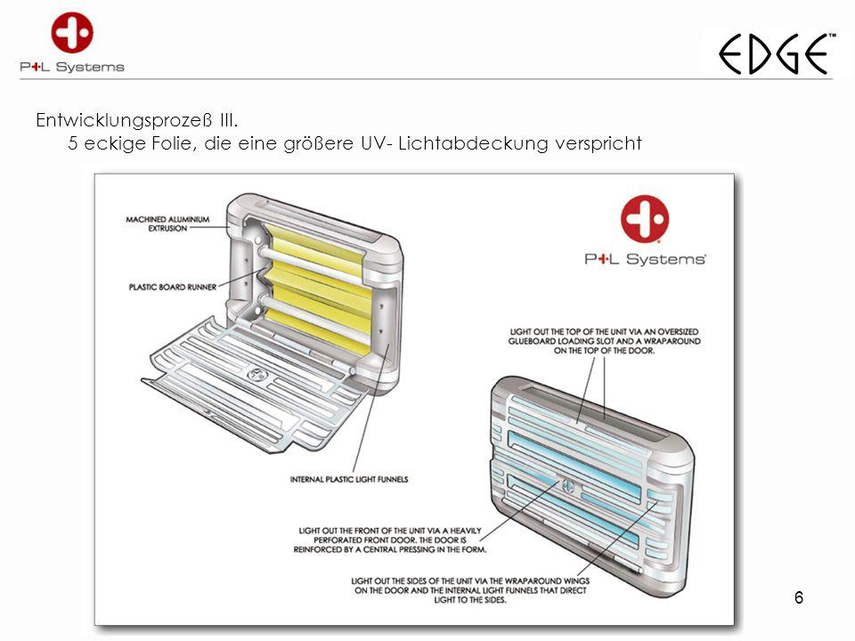 6 Entwicklungsprozeß III. 5 eckige Folie, die eine größere UV- Lichtabdeckung verspricht
