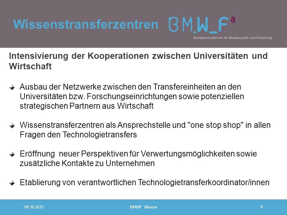 Wissenstransferzentren 08.10.2013BMWF Mesner9 Intensivierung der Kooperationen zwischen Universitäten und Wirtschaft Ausbau der Netzwerke zwischen den Transfereinheiten an den Universitäten bzw.