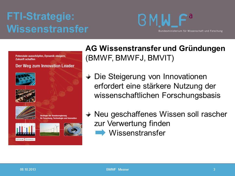 08.10.2013BMWF Mesner3 FTI-Strategie: Wissenstransfer AG Wissenstransfer und Gründungen (BMWF, BMWFJ, BMVIT) Die Steigerung von Innovationen erfordert