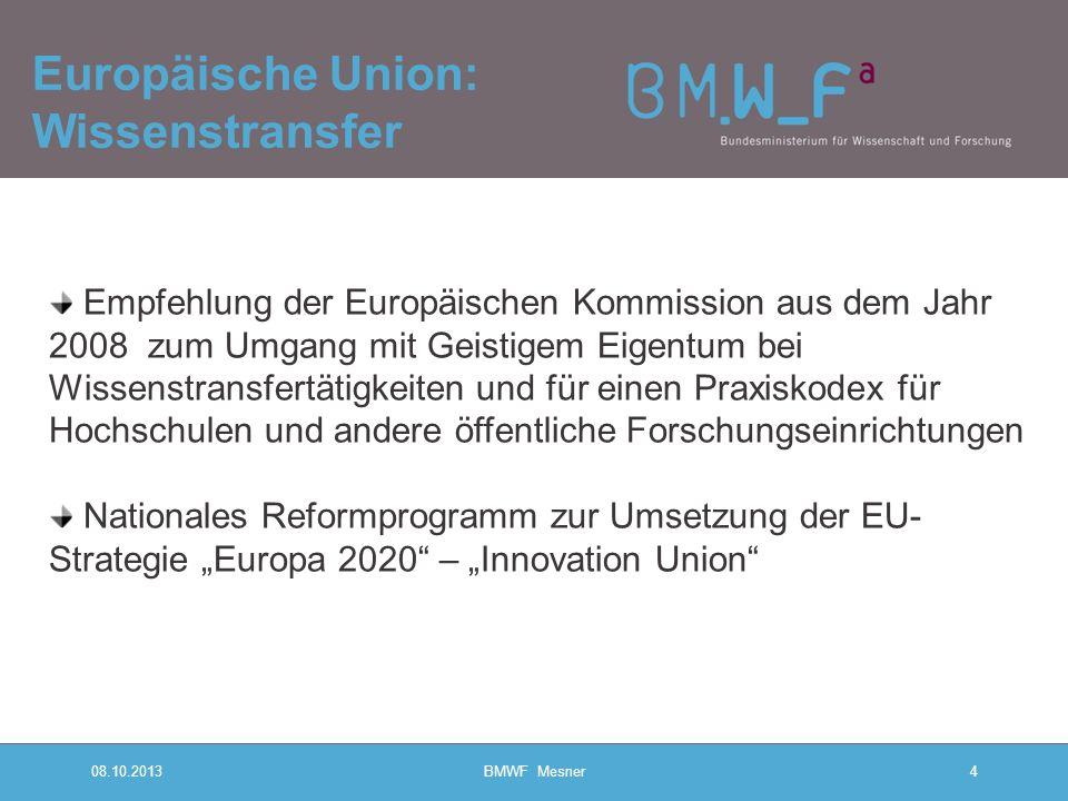 08.10.2013BMWF Mesner4 Europäische Union: Wissenstransfer Empfehlung der Europäischen Kommission aus dem Jahr 2008 zum Umgang mit Geistigem Eigentum b