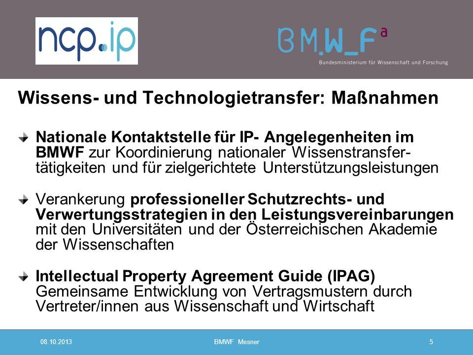 08.10.2013BMWF Mesner5 Wissens- und Technologietransfer: Maßnahmen Nationale Kontaktstelle für IP- Angelegenheiten im BMWF zur Koordinierung nationale