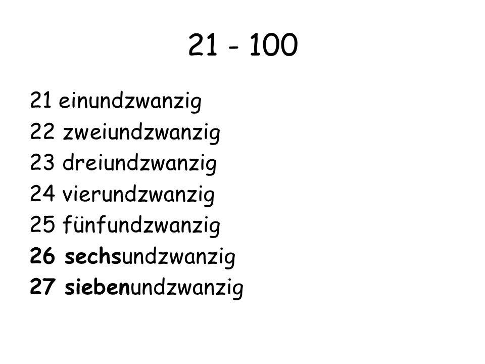 21 - 100 21 einundzwanzig 22 zweiundzwanzig 23 dreiundzwanzig 24 vierundzwanzig 25 fünfundzwanzig 26 sechsundzwanzig 27 siebenundzwanzig