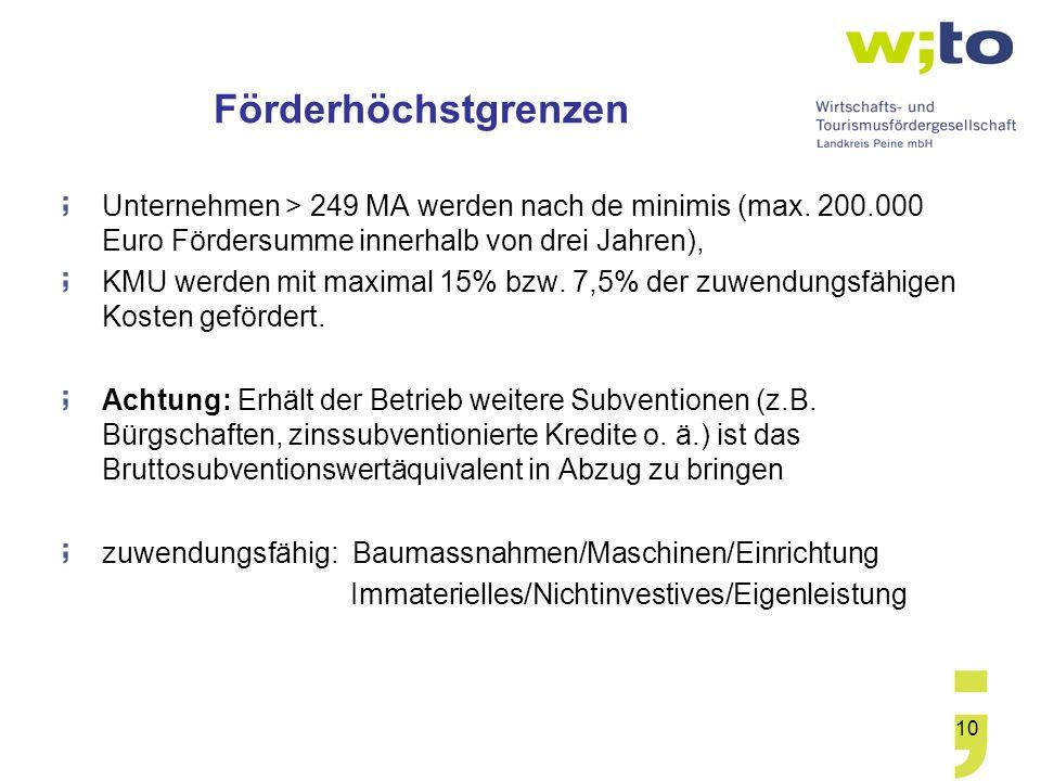 10 Förderhöchstgrenzen Unternehmen > 249 MA werden nach de minimis (max. 200.000 Euro Fördersumme innerhalb von drei Jahren), KMU werden mit maximal 1