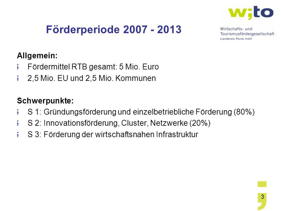 3 Förderperiode 2007 - 2013 Allgemein: Fördermittel RTB gesamt: 5 Mio. Euro 2,5 Mio. EU und 2,5 Mio. Kommunen Schwerpunkte: S 1: Gründungsförderung un