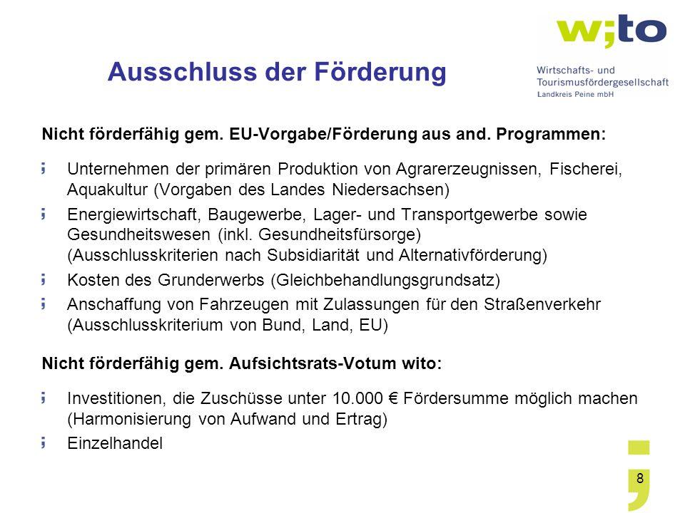 8 Ausschluss der Förderung Nicht förderfähig gem. EU-Vorgabe/Förderung aus and. Programmen: Unternehmen der primären Produktion von Agrarerzeugnissen,