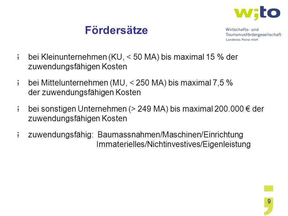 9 Fördersätze bei Kleinunternehmen (KU, < 50 MA) bis maximal 15 % der zuwendungsfähigen Kosten bei Mittelunternehmen (MU, < 250 MA) bis maximal 7,5 %
