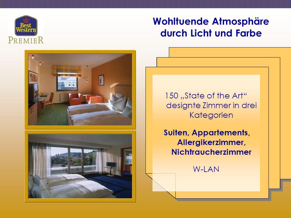 Wohltuende Atmosphäre durch Licht und Farbe 150 State of the Art designte Zimmer in drei Kategorien Suiten, Appartements, Allergikerzimmer, Nichtraucherzimmer W-LAN