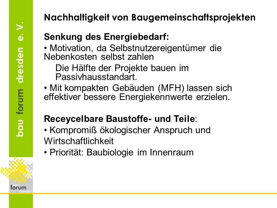 bau forum dresden e. V. Nachhaltigkeit von Baugemeinschaftsprojekten Senkung des Energiebedarf: Motivation, da Selbstnutzereigentümer die Nebenkosten