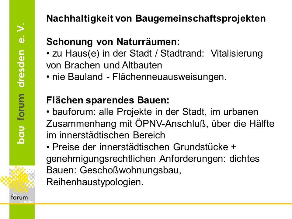 bau forum dresden e. V. Nachhaltigkeit von Baugemeinschaftsprojekten Schonung von Naturräumen: zu Haus(e) in der Stadt / Stadtrand: Vitalisierung von
