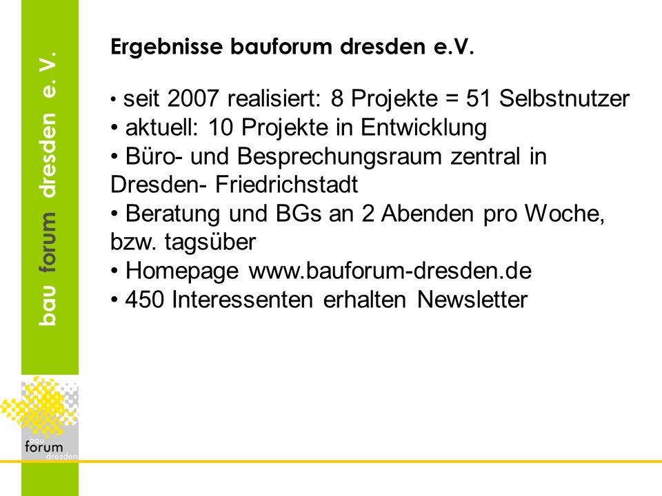 bau forum dresden e. V. Ergebnisse bauforum dresden e.V. seit 2007 realisiert: 8 Projekte = 51 Selbstnutzer aktuell: 10 Projekte in Entwicklung Büro-